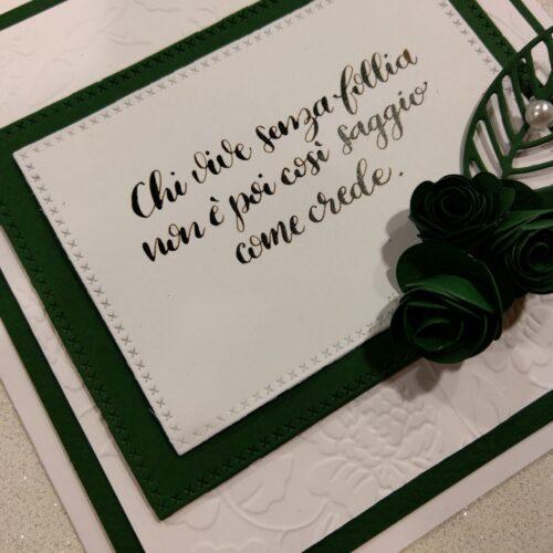 Biglietto scritto a mano verde e bianco